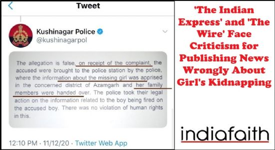 'The Indian Express' and 'The Wire' face criticism for publishing news wrongly about girl's kidnapping