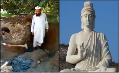 After Maulavi's order, a man destroys ancient Buddha statue with the hammer in Pakistan