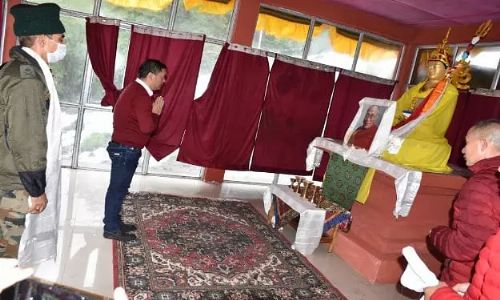Arunachal CM Pema Khandu inaugurates prayer hall with a statue of Guru Padmasambhava in Tawang district