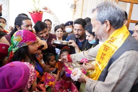 Uttarakhand CM celebrates Phool Dei festival with children
