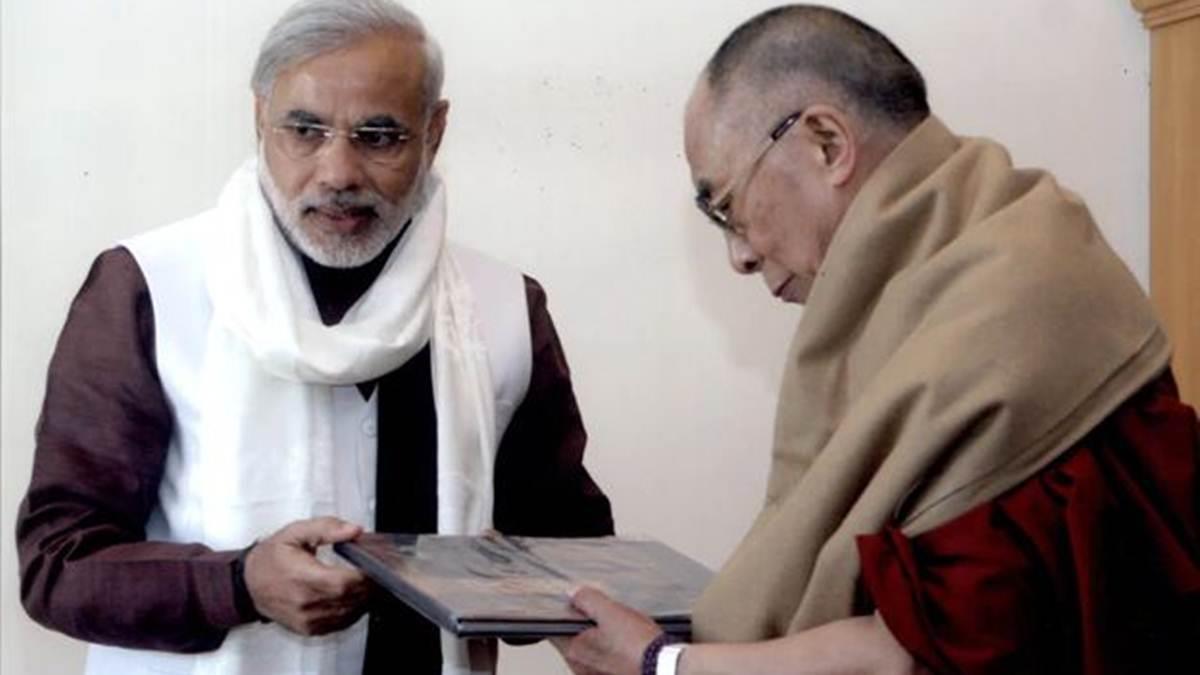 Dalai Lama greets PM Nare